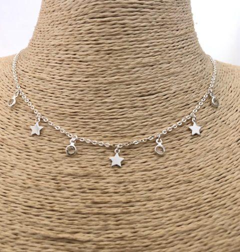 Collar bañado en plata de 41cm Alargue 4cm Estrellas Puntos de luz LBO31120