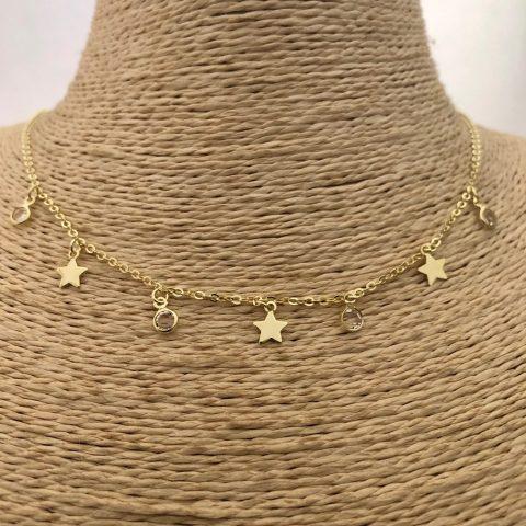 Collar bañado en oro 22k de 41cm Alargue 4cm Estrellas Puntos de luz LBO31121