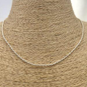 Collar bañado en plata de 42cm Alargue 5cm Cadena cordon 1mm brillo LBO31124