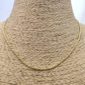 Collar bañado en oro 22k de 42cm Alargue 5cm Cadena cordon 1mm brillo LBO31125
