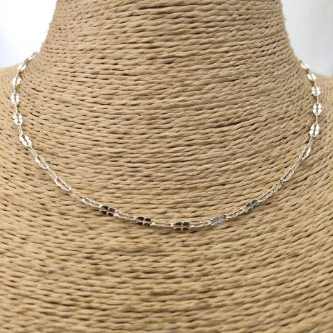 Collar bañado en plata de 40cm Alargue 7cm Cadena Espejo Eslabón 3x5mm LBO31126