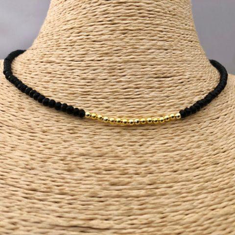 Collar bañado en oro 22k de 40cm Alargue de 3cm Cristal 3mm Negro Bolitas 2.3mm LBO31161