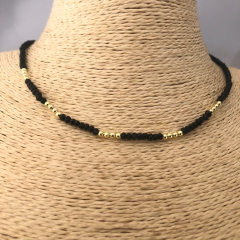 Collar bañado en oro 22k de 40cm Alargue de 3cm Cristal 2mm Negro Bolitas 2.3mm LBO31163