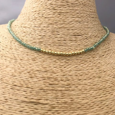 Collar bañado en oro 22k de 40cm Alargue de 3cm Cristal 2mm Celeste Tornasol Bolitas 2.3mm LBO31169