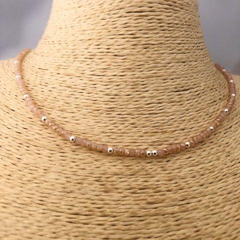 Collar bañado en plata de 40cm  Alargue de 3cm Cristal 2mm Rosado Bolita 2.3mm LBO31178