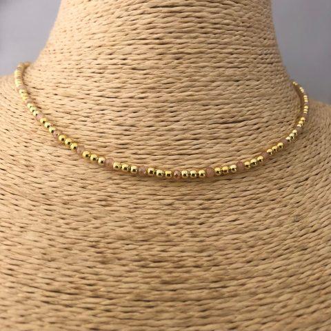 Collar bañado en oro 22k de 38cm  Alargue de 3cm Cristal 2mm Rosado Claro Bolita 2.3mm LBO31185