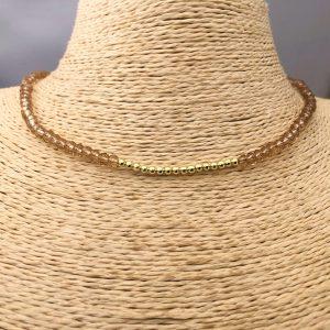 Collar bañado en oro 22k de 40cm Alargue de 3cm Cristal 4mm Café Bolita 2.3mm LBO31187
