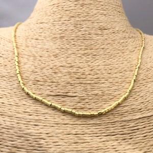 Collar bañado en oro 22k de 50cm Alargue 3cm Mostacilla Tubo Lijada 2x2mm LBO31195