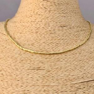 Collar bañado en oro 22k de 42cm Alargue 3cm Mostacilla Tubo Lisa 2x2mm LBO31208