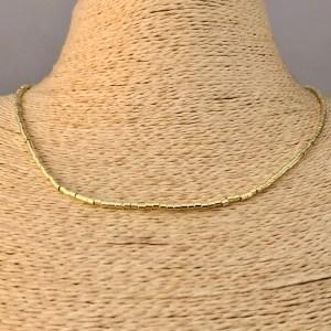 Collar bañado en oro 22k de 45cm Alargue 3cm Mostacilla Tubo Lisa 2x2mm LBO31210