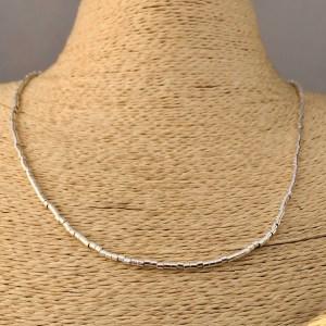 Collar bañado en plata de 50cm Alargue 3cm Mostacilla Tubo Lisa 2x2mm LBO31211