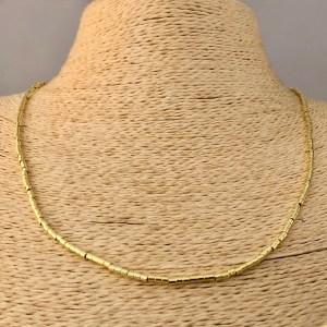 Collar bañado en oro 22k de 50cm Alargue 3cm Mostacilla Tubo Lisa 2x2mm LBO31212