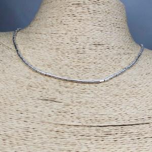 Collar bañado en plata de 42cm Alargue 3cm Mostacilla Tubo Lisa 2x4mm LBO31229