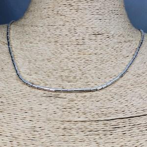 Collar bañado en plata de 45cm Alargue 3cm Mostacilla Tubo Lisa 2x4mm LBO31231