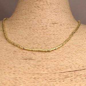 Collar bañado en oro 22k de 42cm Alargue 3cm Mostacilla Tubo Lijada 2.5x2mm LBO31238