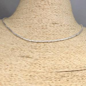 Collar bañado en plata de 40cm Alargue 3cm Mostacilla Tubo Lijada 2x4mm LBO31241