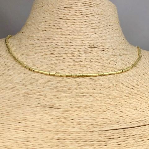 Collar bañado en oro 22k de 40cm Alargue 3cm Mostacilla Tubo Lijada 2x4mm LBO31242