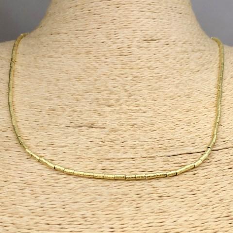 Collar bañado en oro 22k de 50cm Alargue 3cm Mostacilla Tubo Lijada 2x4mm LBO31248