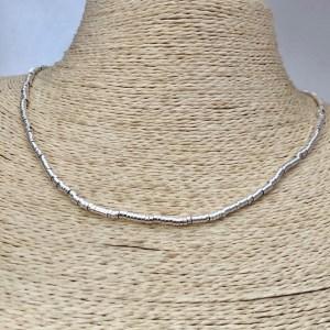 Collar bañado en plata de 45cm Alargue 3cm Mostacilla Tubo Lisa 2.5x1mm LBO31259