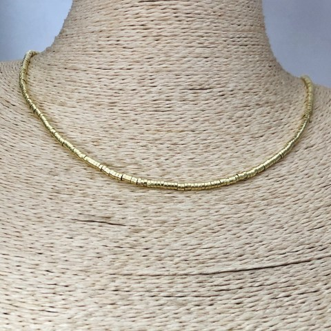 Collar bañado en oro 22k de 45cm Alargue 3cm Mostacilla Tubo Lisa 2.5x1mm LBO31260