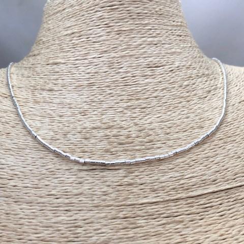 Collar bañado en plata de 42cm Alargue 3cm Mostacilla Tubo Lisa 1.75x2 LBO31265