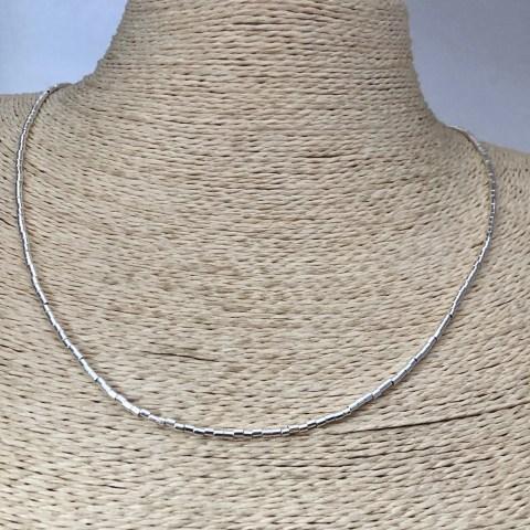Collar bañado en plata de 50cm Alargue 3cm Mostacilla Tubo Lisa 1.75x2 LBO31269