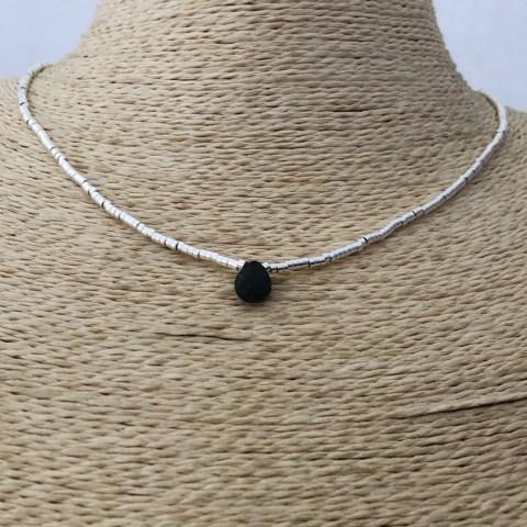 Collar bañado en plata de 42cm Alargue 3cm Mostacilla Tubo Liso 2x1mm Cristal Gota Negro LBO31279