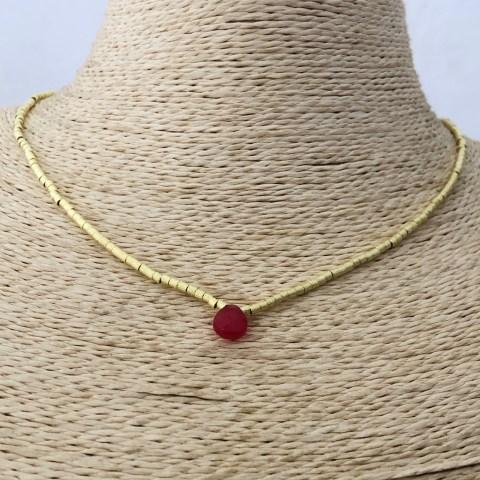 Collar bañado en oro 22k de 42cm Alargue 3cm Mostacilla Tubo Lijado 2x2mm Cristal Gota Rojo LBO31284