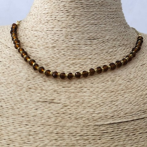 Collar bañado en oro 22k de 42cm Alargue 3cm Cristal Café Mostacilla Argolla 2.5mm LBO31294