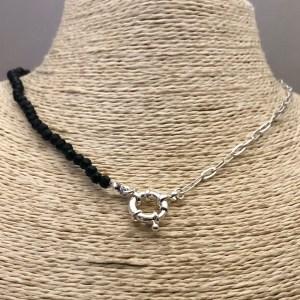 Collar bañado en plata de 43cm Cadena Clip Cristal 4mm Negro Broche Timón LBO31309