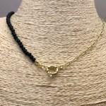 Collar bañado en oro 22k de 43cm Cadena Clip Cristal 4mm Negro Broche Timón LBO31310