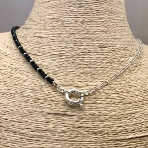 Collar bañado en plata de 43cm Cadena Clip Cristal 3mm Negro Mostacilla Argolla 2mm Broche Timón LBO31311