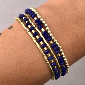 Pulsera bañada en oro 22k de 80cm Alargue 8cm Cristal 3.5mm Azul Mostacilla Tubo 1.75x2 Bolitas 2.3mm LBO50937