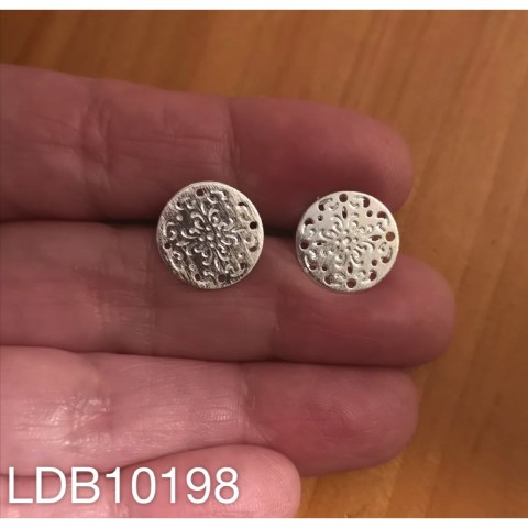 Base de aros bañado en plata de 0mm Mandala LDB10198