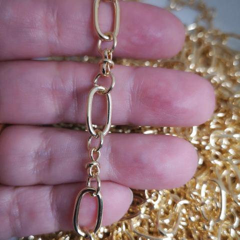 Cadena bañada en oro de 18k Eslabón ovalado 13x7mm 1 metro LDB30117