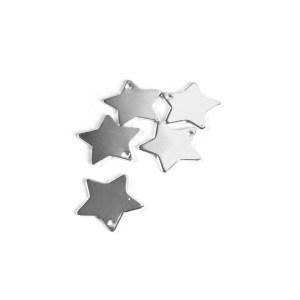 Estrella bañada en plata de 11mm 5 unidades
