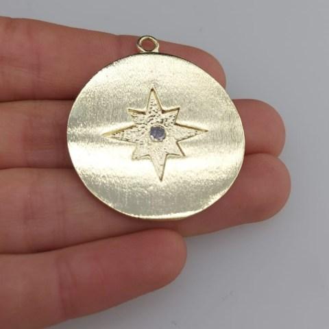 Dije bañado en oro de 34mm Medallón Estrella Fugaz Circón LDB81373