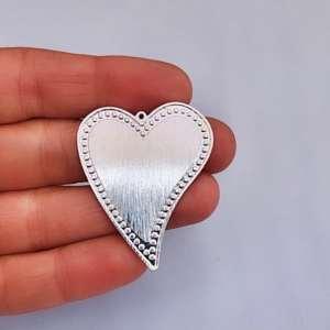 Dije bañado en plata de 40mm Corazón LDB81758