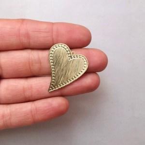 Dije bañado en oro 22k de 30mm Corazón Puntos LDB81933