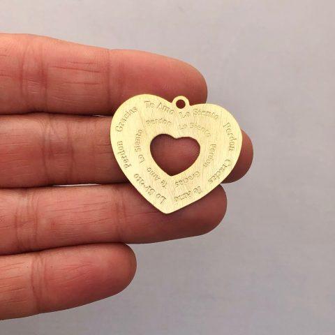 Dije bañado en oro 22k de 27mm Corazón Ho'oponopono LDB81951