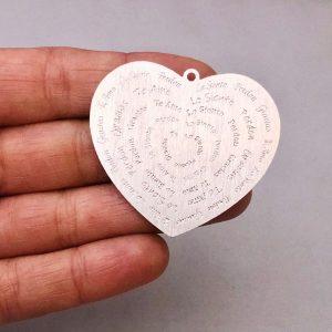 Dije bañado en plata de 40mm Corazón Ho'oponopono LDB81952