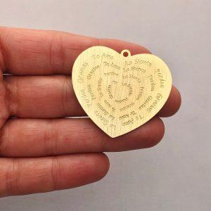 Dije bañado en oro 22k de 35mm Corazón Ho'oponopono LDB81955