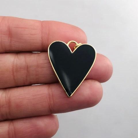 Dije bañado en oro 18k de 27mm Corazón Esmalte Negro LDB81973