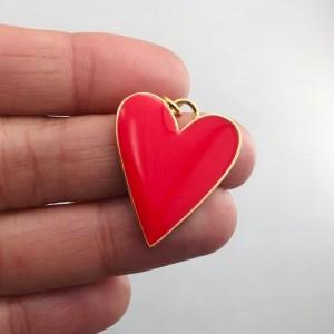 Dije bañado en oro 18k de 27mm Corazón Esmalte Rojo LDB81975
