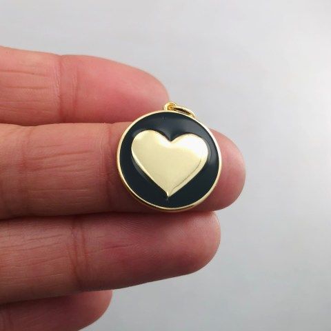 Dije bañado en oro 18k de 19mm Medalla Corazón Esmalte Negro LDB81985