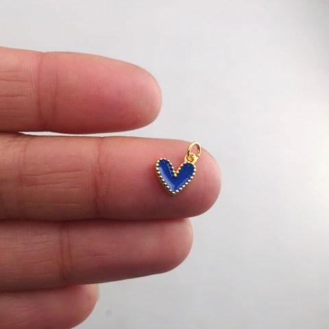 Dije bañado en oro 18k de 9mm Corazón Esmalte Azul LDB81995