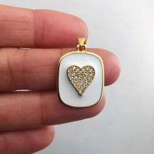 Dije bañado en oro 18k de 22mm Medalla Corazón Esmalte Blanco LDB81997
