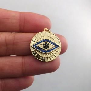 Dije bañado en oro 18k de 22mm Medalla Ojo Circones Azul LDB82005