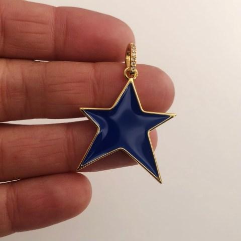 Dije bañado en oro 18k de 36mm Estrella Irregular Esmalte Azul LDB82030