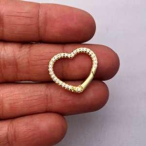 Broche bañado en oro 22k de 17mm Corazón Circones LDC20222
